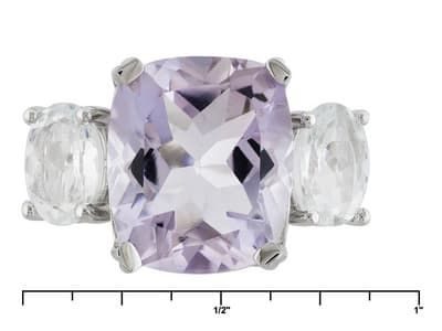 8.19ctw Rectangular Cushion Orchid Amethyst And 1.88ctw Oval Aquamarine Sterling Silver 3-stone Ring