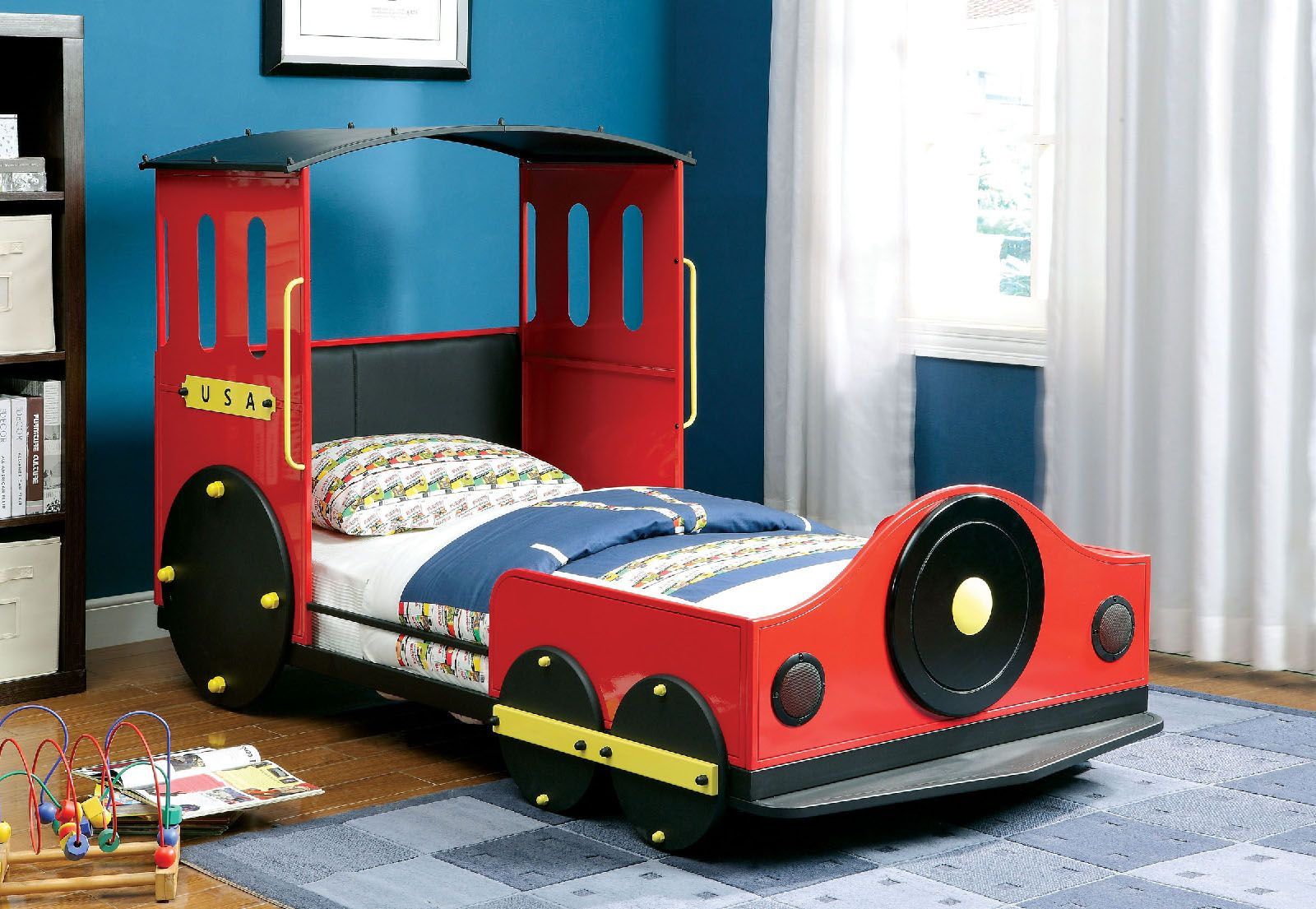 retro express collection 7106 twin train bed kids beds pinterest kinderzimmer kinderbett. Black Bedroom Furniture Sets. Home Design Ideas