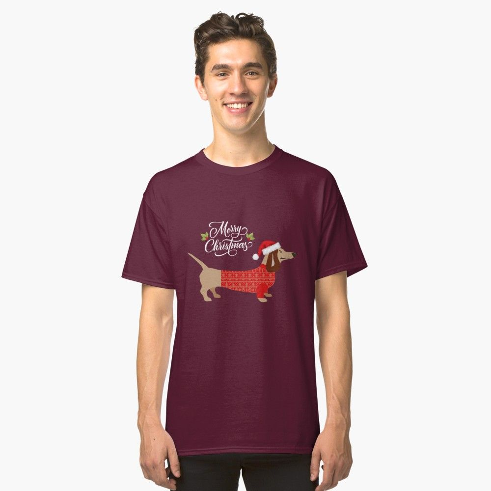 78d905a2 Funny Christmas Dachshund Dog in Santa Hat Gift Classic T-Shirt Front