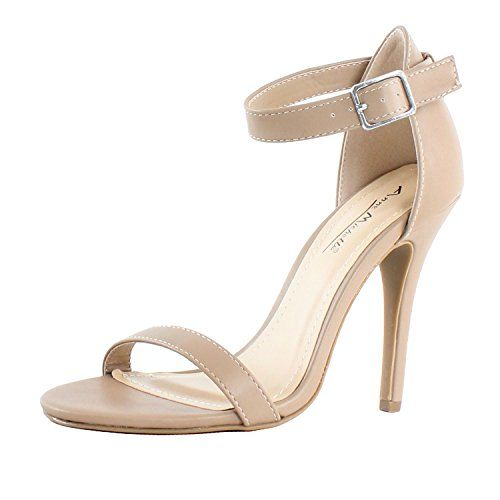 awesome Anne Michelle Enzo-01N Ankle Strap Open Toe Stiletto Large Heel Dress Sandal,Nude Crp,7.5