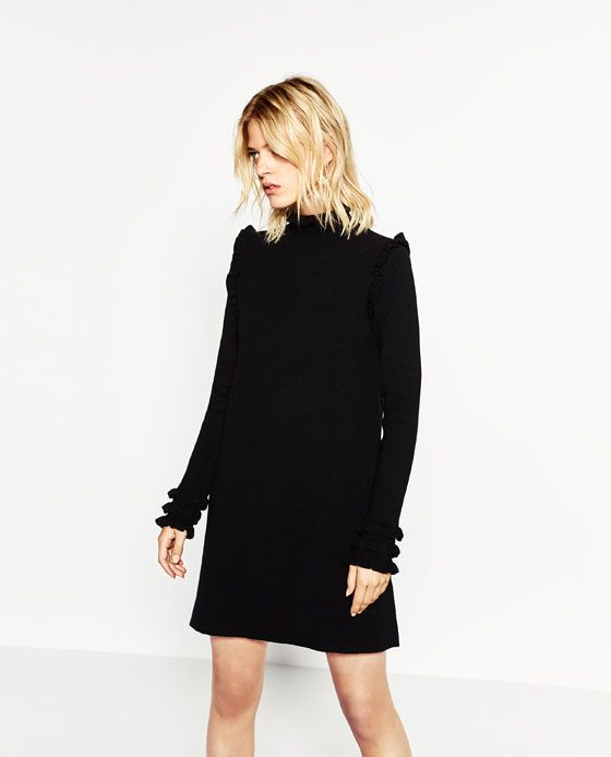 Zara vestido negro con volantes