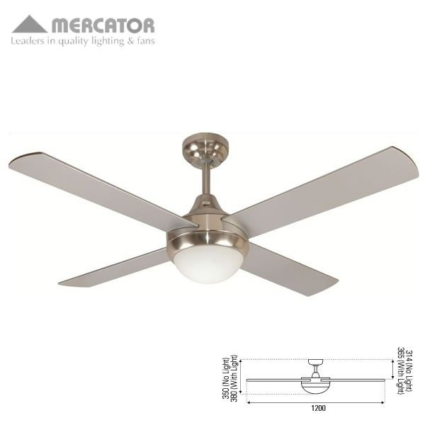 Mercator glendale ceiling fan with light and remote brushed chrome mercator glendale ceiling fan with light and remote brushed chrome 48 aloadofball Image collections