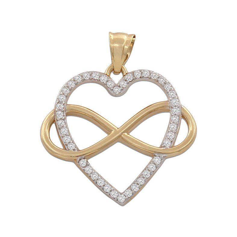 ad3cd712c155  Colgante Corazón con infinito de Oro