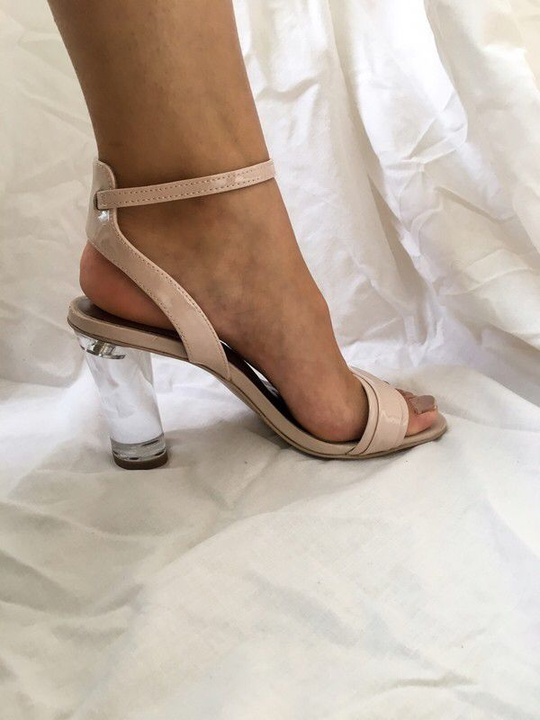 ae0688f8eb My Autograph Nude Upper Leather Transparent Block High Heels Sandals by  Autograph. Size 5.5 for