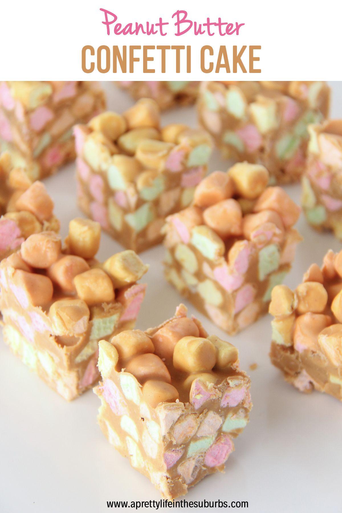 Peanut Butter Confetti Cake #peanutbuttersquares