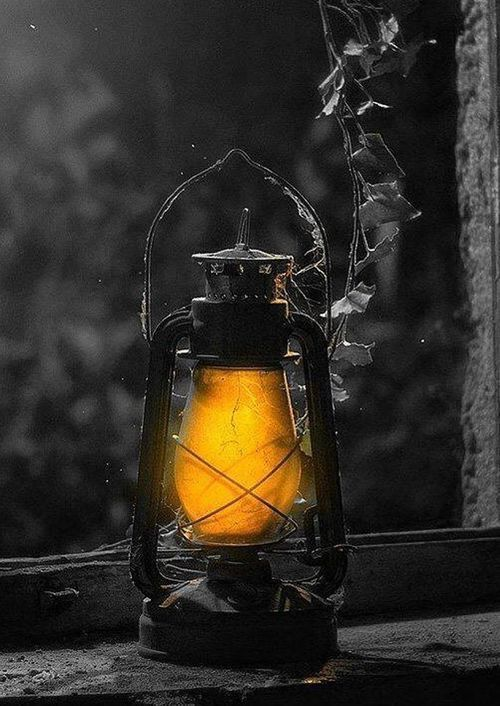 Lantern splash of color black and white