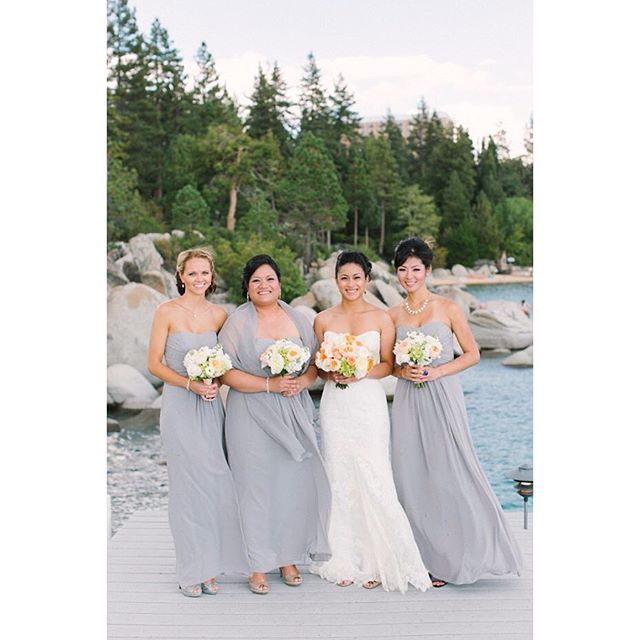 This #LakeTahoe bridal party has such a beautiful look. #bridesmaides #tahoewedding  Photo: @emilyscannell with @blueskyeventstahoe @katielong44    #Regram via @tahoeunveiled