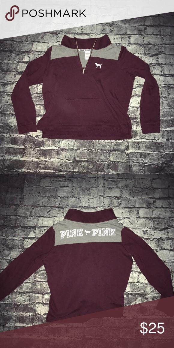 1fa438ece9c VS Pink quarter zip size Large Cute! PINK Victoria s Secret Tops  Sweatshirts   Hoodies