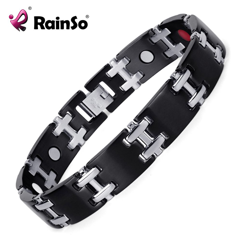 Rainso stainless steel health magnetic bracelet for men with