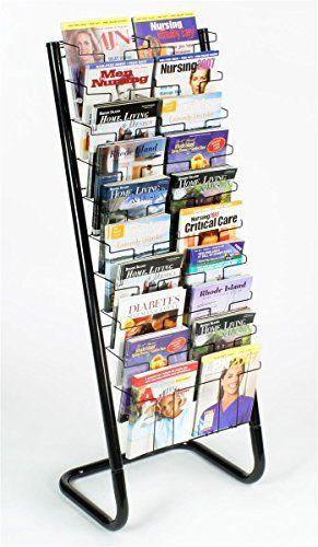 Displays2go 57 Inch Floor Standing Wire Magazine Rack 20 Pockets Tiered Design Black Wfm1020a Magazine Rack Magazine Display Rack Book Racks