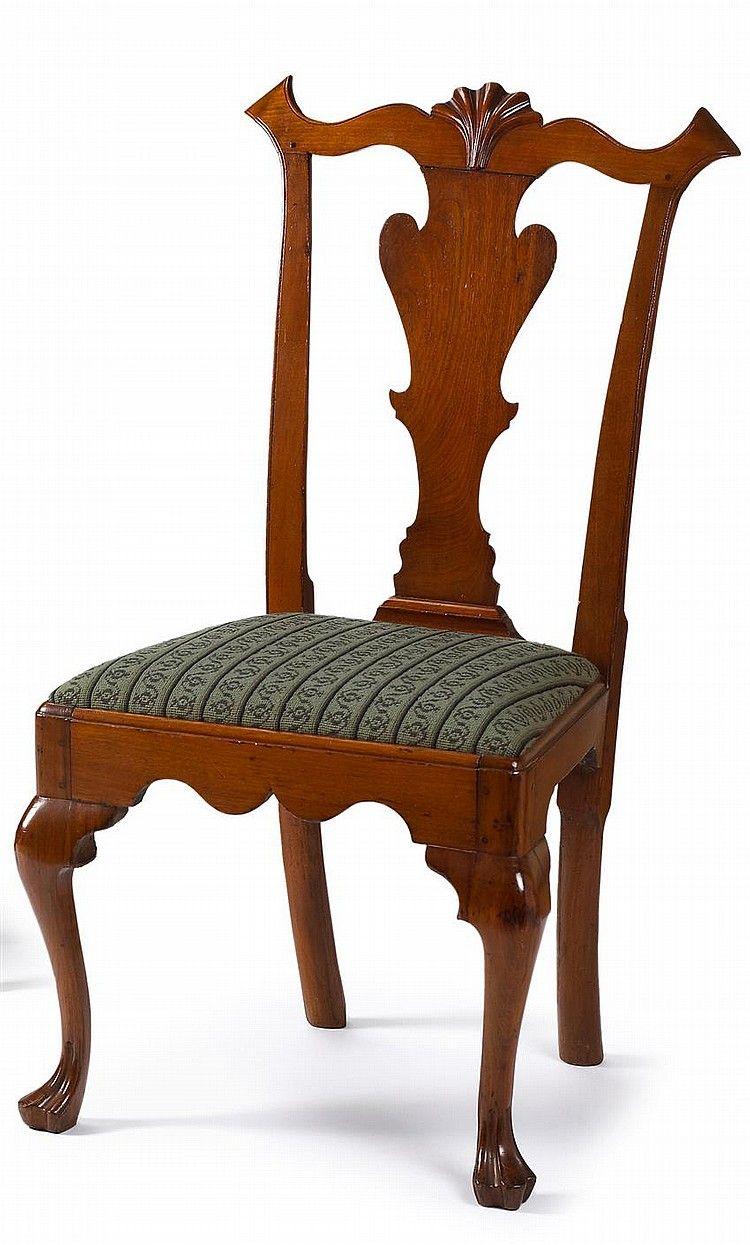 Queen Anne Cherrywood Side Chair Boston Mid 18th Century Shaped  # Muebles Ebenezer