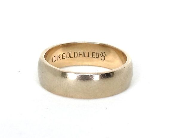 Vintage Mens Wedding Ring Band 10k Yellow Gold Filled Simple Signed Makers Mark Ws Jd Schlang Size Rings Mens Wedding Bands Wedding Rings Vintage Wedding Rings