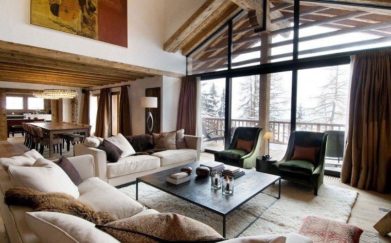 cortinas marrones para el salón moderno