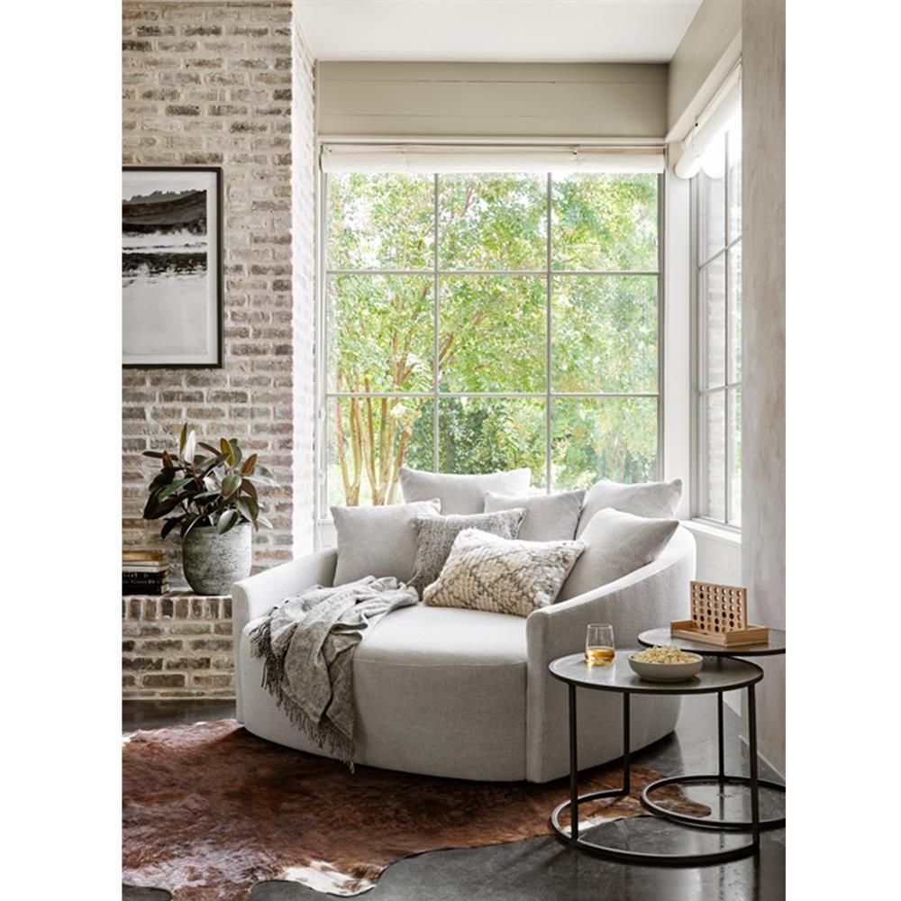 Louisa Modern Classic Light Grey Upholstered Round Sofa In 2020 Round Sofa Home Furniture