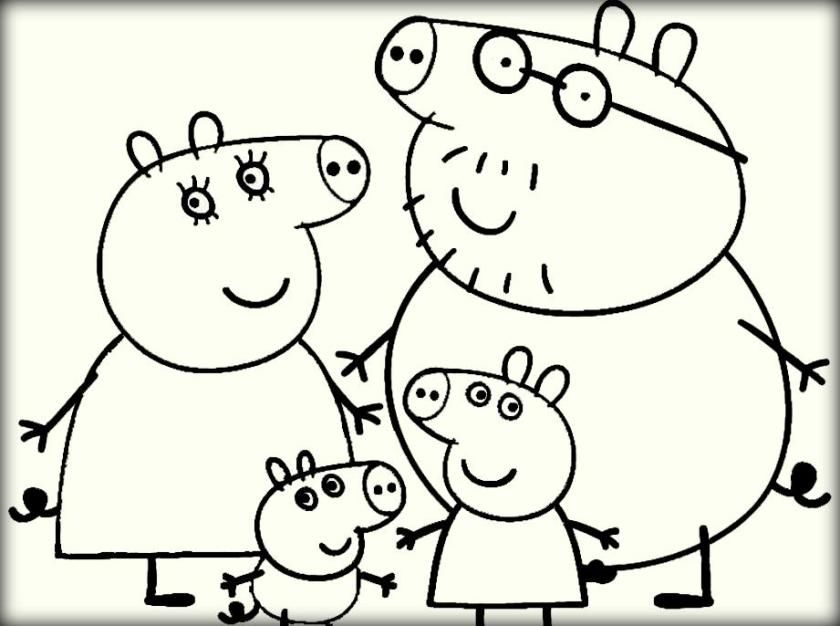 Peppa Pig With Family Coloring Pictures