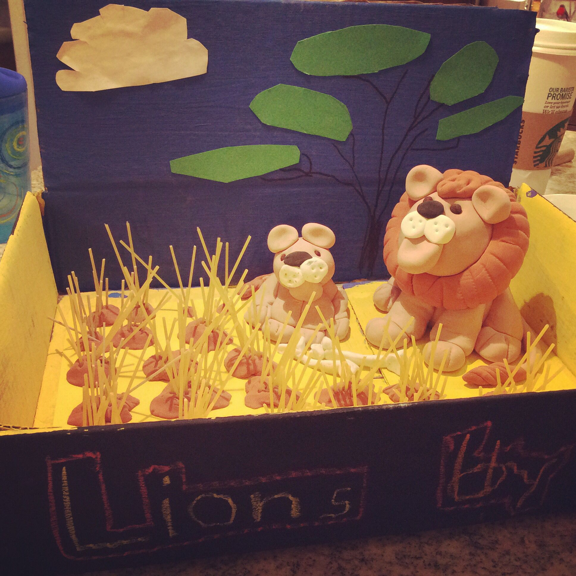Lions shoebox diorama school project model magic spaghetti lions shoebox diorama school project model magic spaghetti acrylic paint play sciox Image collections