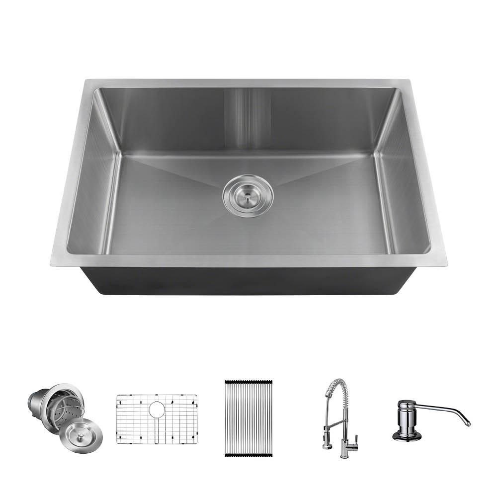 Mr Direct All In One Undermount Stainless Steel 28 In Single Bowl