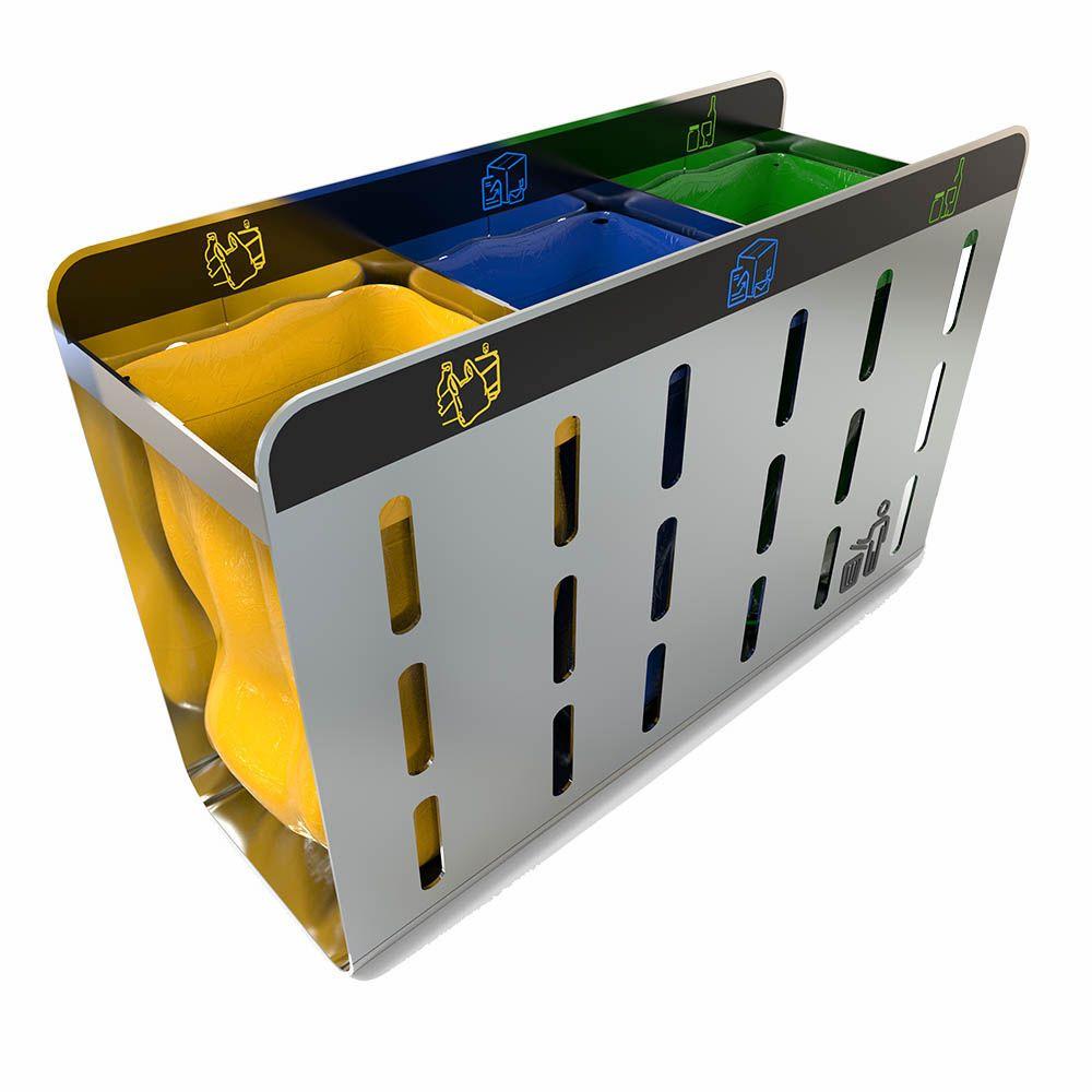 zurich support sacs poubelle de tri acier inoxydable pas. Black Bedroom Furniture Sets. Home Design Ideas