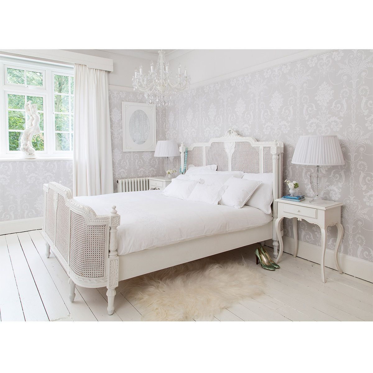 Best New Lit Lit White Embellished Rattan Luxury Bed French 400 x 300