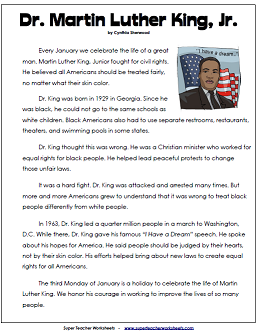 Martin Luther King Jr Reading Comprehension Passage For Kids