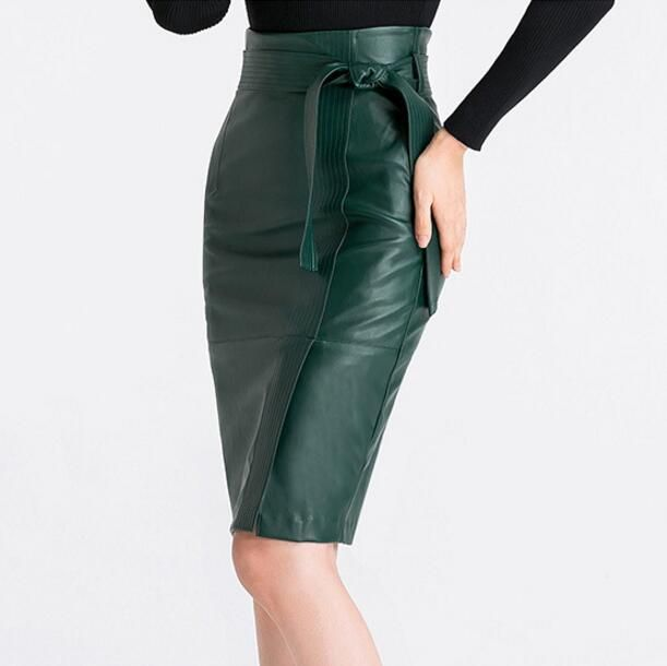 67dd9eabb11 2XL 3XL 4XL leather Skirt Women Plus Size Autumn Winter Sexy High Waist  Faux leather Skirts Womens Belted Fashion Pencil Skirt