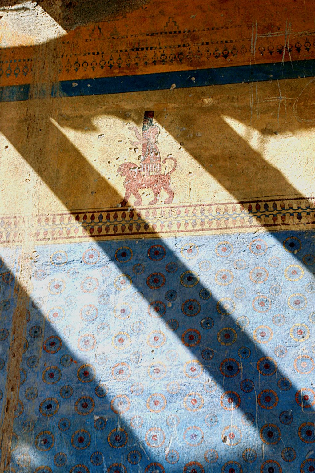Modern reproductions of the ancient wall-paintings at Erebuni Fortress.