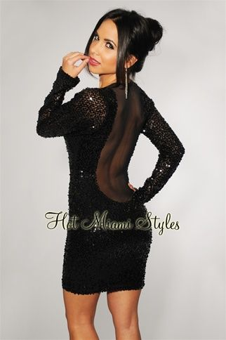 465508a6cd2 Black All-Over Sequined Mesh Accent Long Sleeves Dress | Nightlife ...