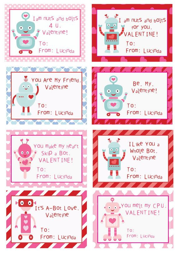Kids Robot Valentines Cards Personalized By Fabpartyprints With