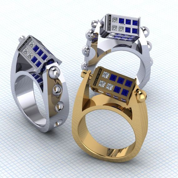 The Spin Doctor Ladies Tardis Ring Tardis Engagement Rings