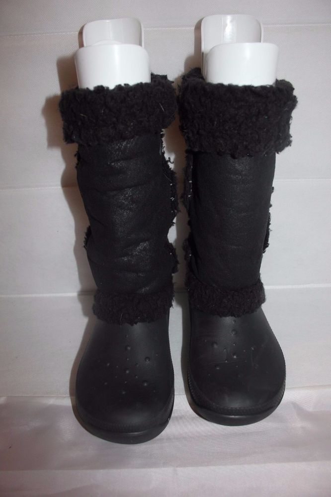 60779b444fb81 CROCS Nadia Black Pull On Sherpa Trim Waterproof Winter Snow Boots Women s  Sz 7  Crocs  SnowWinterBoots  Casual