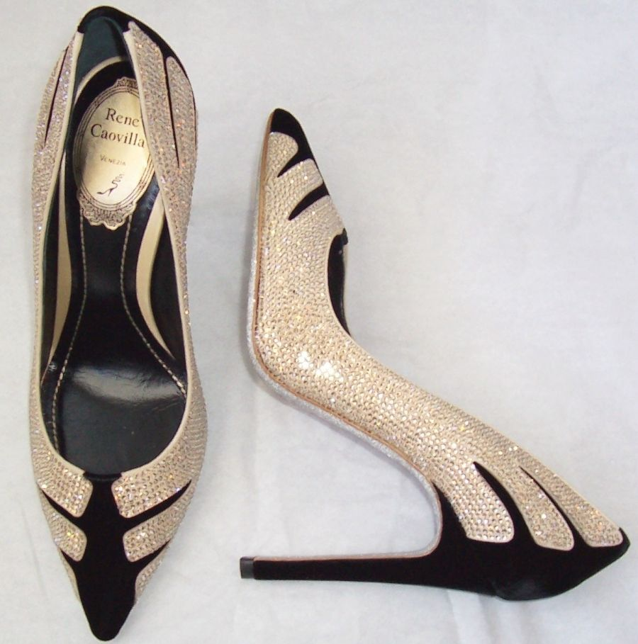 bdc8ff38ef526 RENE CAOVILLA Black Velvet Silver Crystal Jeweled Shoes 38 ...