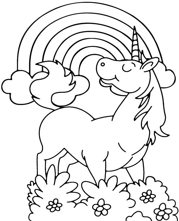 Unicorn And Rainbow Coloring Page Unicorn Coloring Pages Coloring Pages Cartoon Coloring Pages