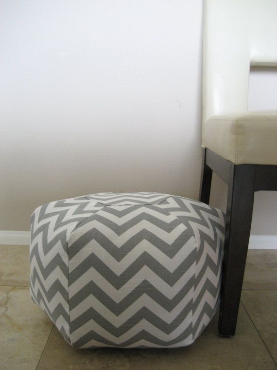 """18"""" Ottoman Pouf Floor Pillow grey white zig zag chevron $70.......or i could buy the fabric and make my own!"""
