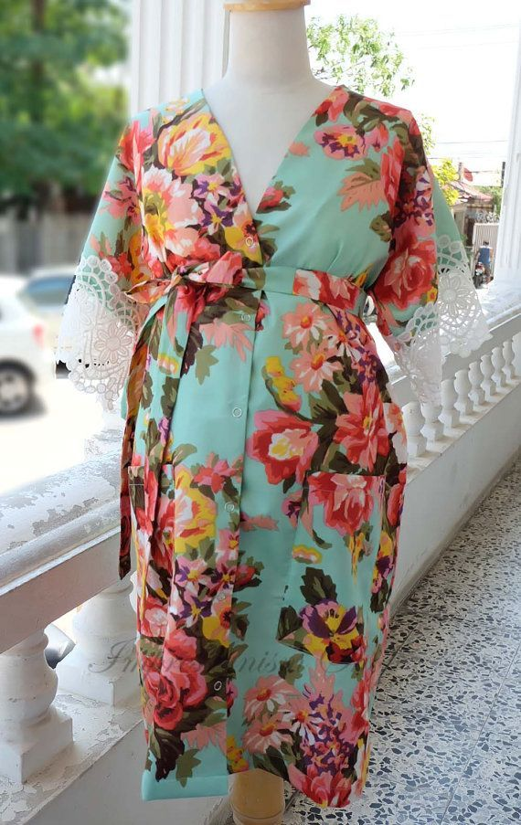 Snaps down Front and Back gown delivery Maternity Robe, Maternity ...