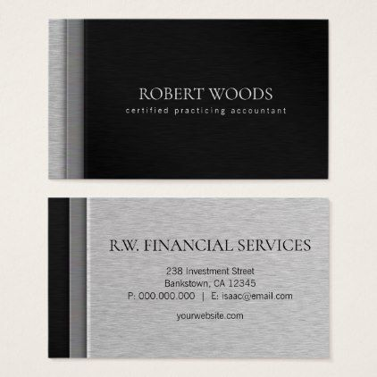 Layered brush steel metal black cpa accountant business card steel layered brush steel metal backl cpa accountant business card professional gifts custom personal diy reheart Images