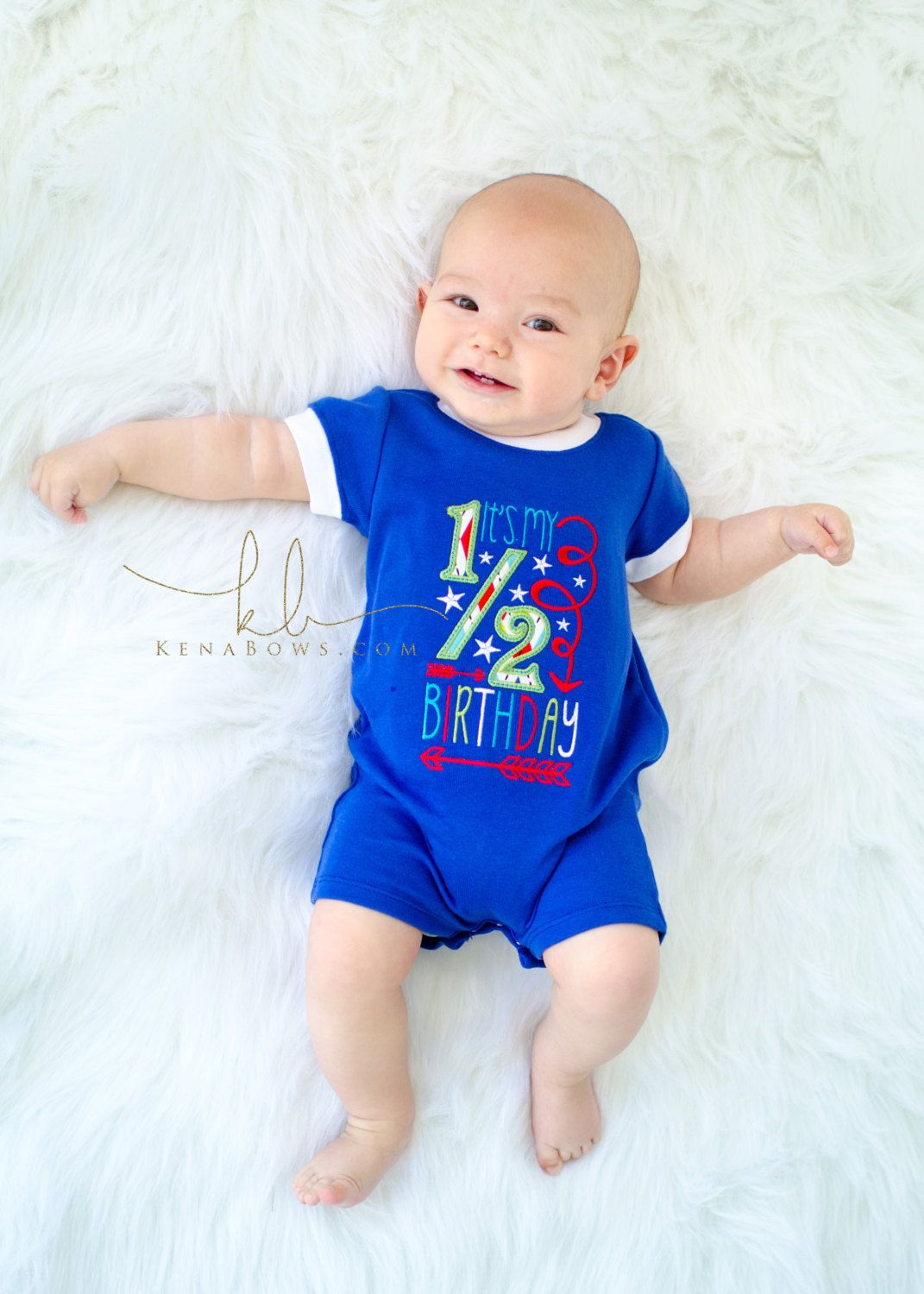 1/2 Birthday Baby, 6 month Photo Shoot Outfit, Blue Romper