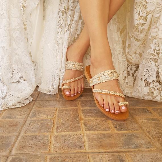 Wedding sandals/ bridal sandals/ leather sandals/ handmade sandals/ pearl sandals/ beach wedding sandals/ wedding shoes/ flat lace sandals#beach #bridal #flat #handmade #lace #leather #pearl #sandals #shoes #wedding