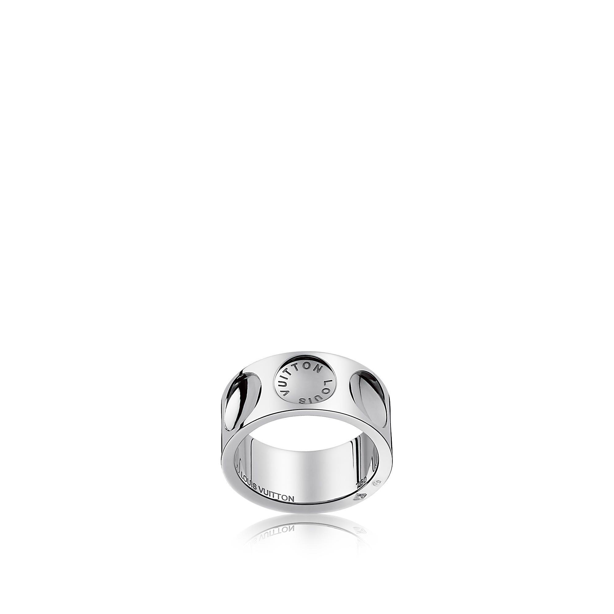 Discover Louis Vuitton Large Empreinte Ring In White Gold Via