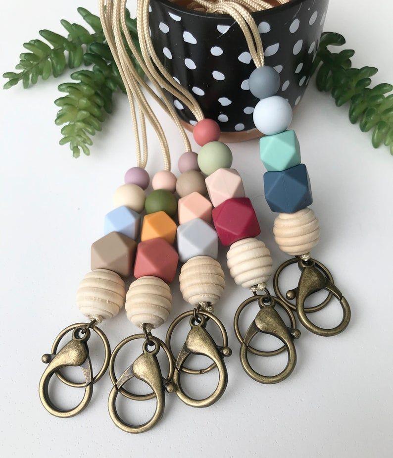 breakaway lanyard lanyard necklace badge holder teacher lanyard ID holder pink lanyard silicone bead lanyard modern lanyard