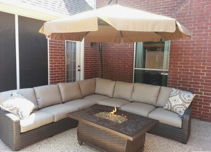 Lane Venture S Leeward Sectional Paired With A Fire Pit From Pride Family Brands And An 11 Cantilever Umbrella From Tre Patio Fireplace Outdoor Rooms Yard Art