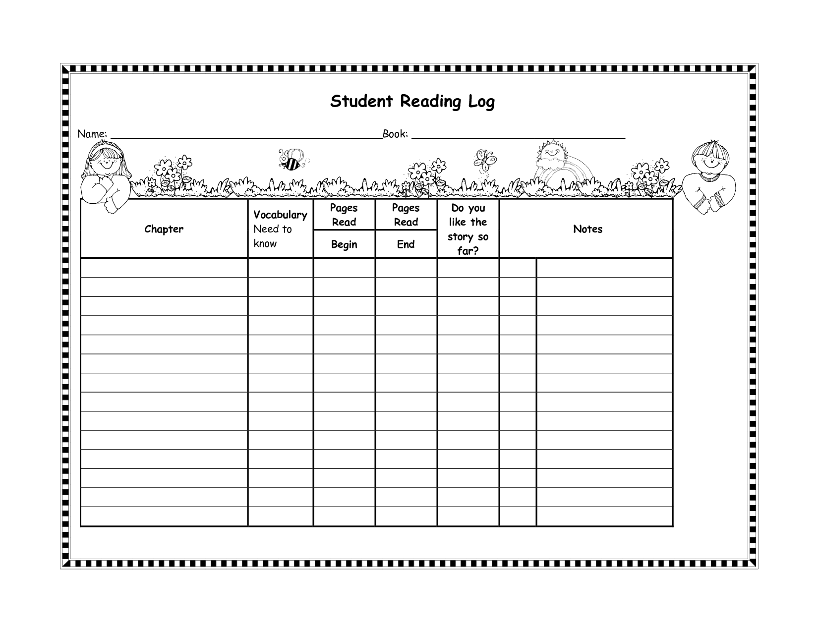 Student Reading Log Template