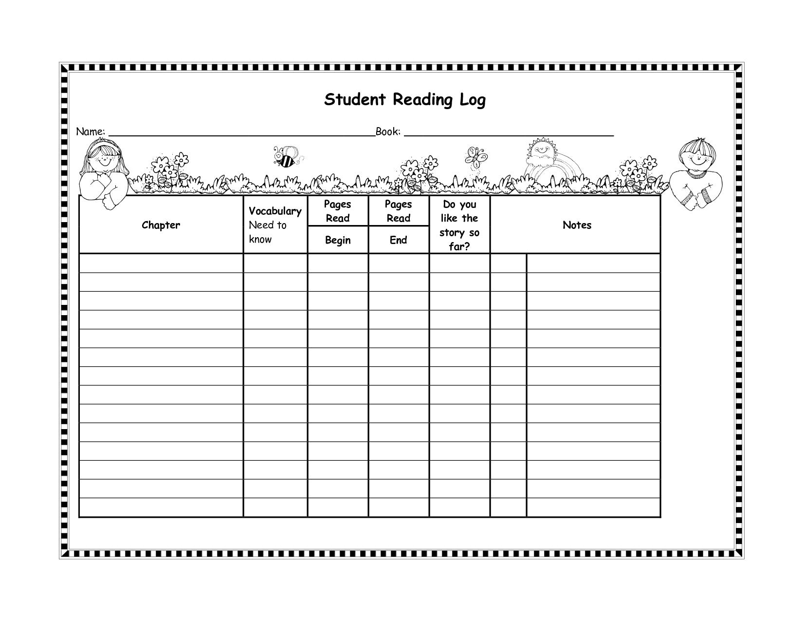 Student Reading Log Template | Management Teaching Ideas ...