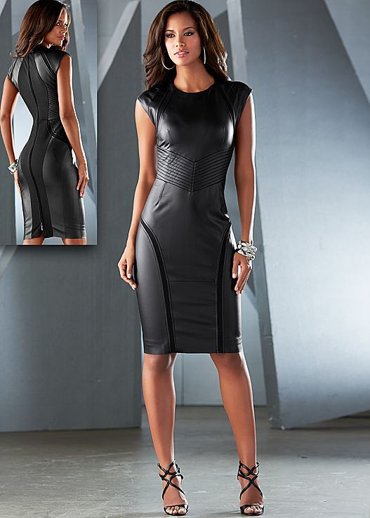 Faux leather sheath dress in the VENUS Line of Dresses for Women ...