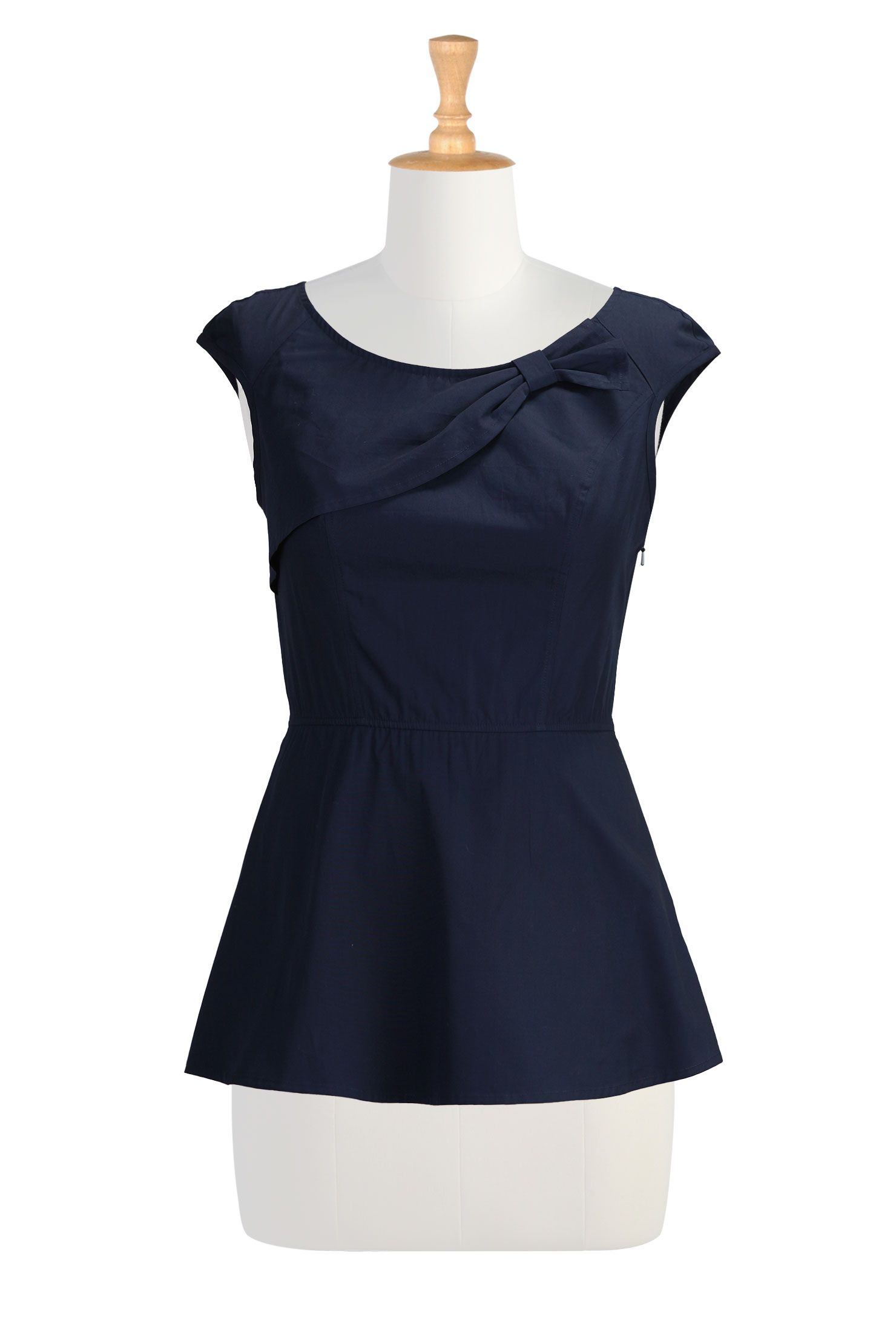 cb5f8d31eb Deep Navy Poplin Tops, Bow-Tied Peplum Cotton Tops Women's designer fashion  - Shop Women's Tunic Tops - Embellished Tops, Long Sleeve Tops, .
