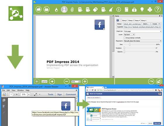 How To Add Facebook Share Button Into Pdf Document Ads Pdf Share Button