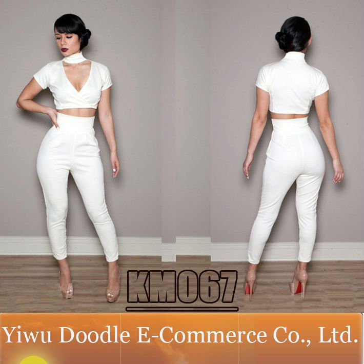 Celebrity Casual White Short 2 Pieces Party Club Dress 2014 New Summer Fashion Women Sexy Jumpersuit Bodycon Bandage Dress $13.99