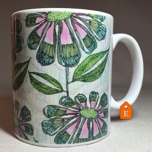 Pretty botanical drawing mug. #mug #botanicalceramics #floralmug #prettymug