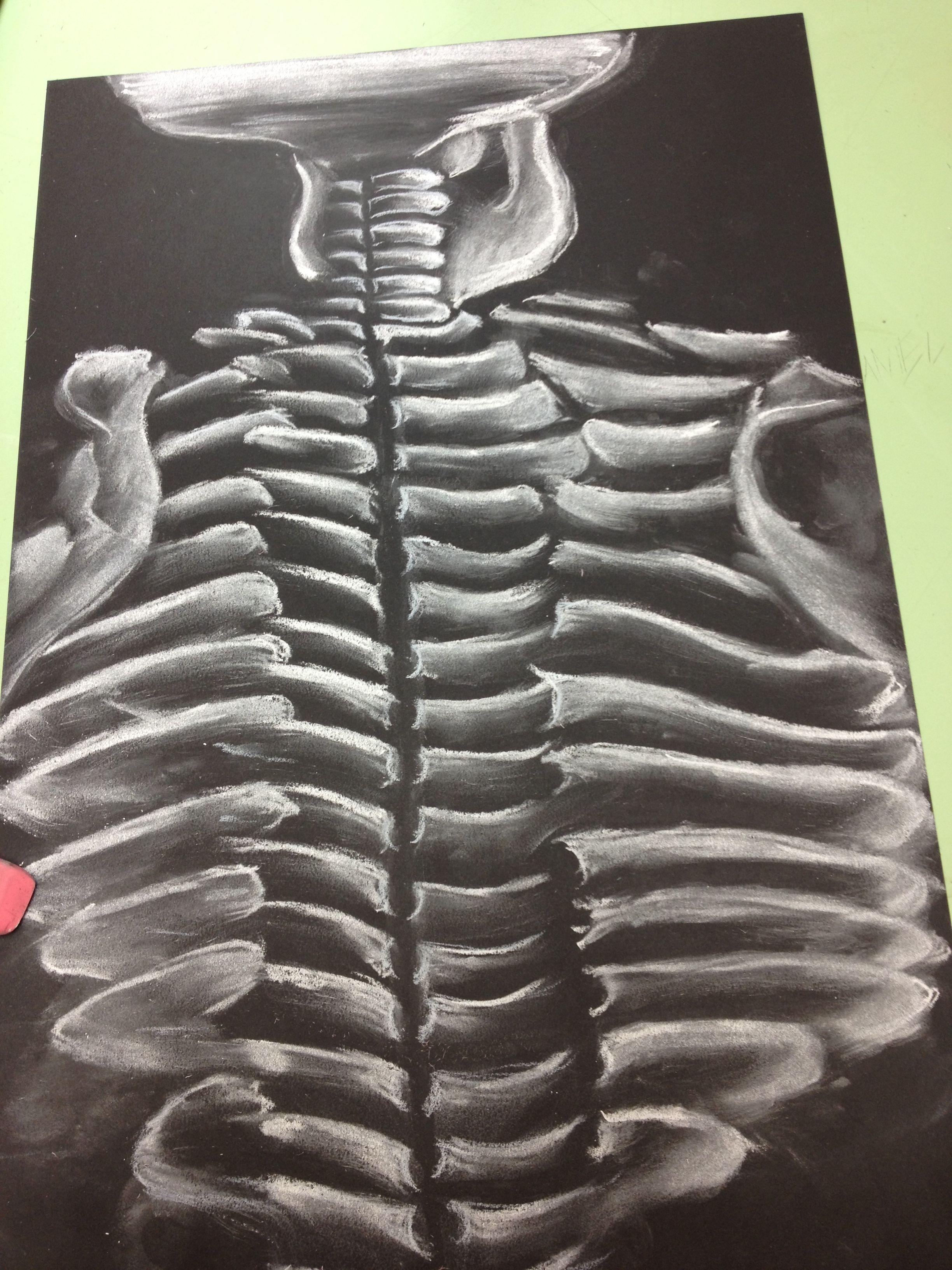 Skeleton - white chalk on black paper | White chalk, Art