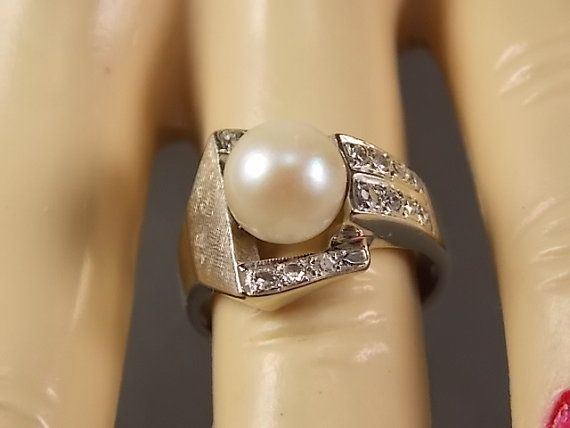 Art Deco Pearl and Diamond Ring 42 Diamonds by estatejewelryshop, $535.00