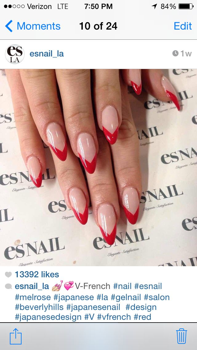red french almond nails
